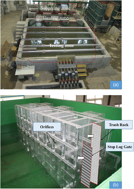 Experimental set-up model: (a) photograph of entire model experiment; (b) photograph of local model experiment.