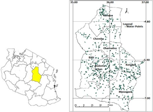 Water points in Dodoma region of Tanzania.