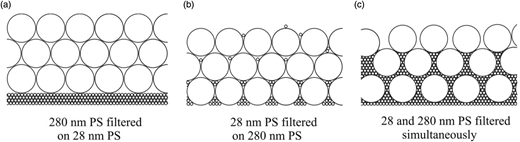 Schematic representation of different bi-disperse PS-layer structures.
