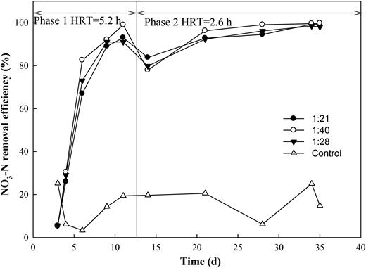NO3-N removal efficiency in effluent at three PHBV:ceramsite mass ratios.