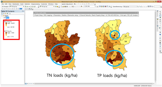 TN and TP pollutant loading maps generated with ArcGIS-based interface.