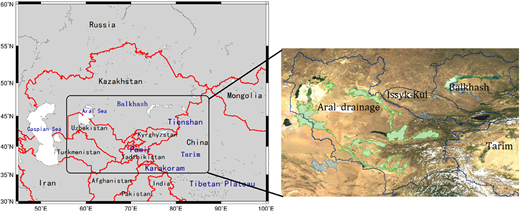 Sketch map of the study area. Left: including the five countries in Central Asia and the SA (Xinjiang and Tibetan Plateau, China). Right: four river basins (provided by DLR).