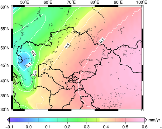 Uplift prediction map with the ICE-5G model (unit: mm/yr).