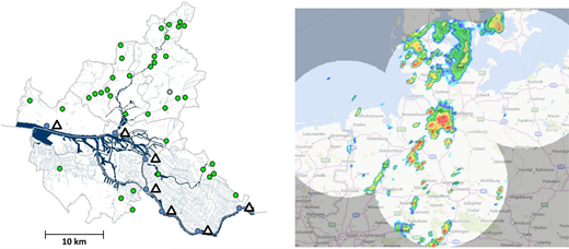 Left: Location of the water gauges included in the warning system WaBiHa, Hamburg. The gauges are denoted by circles. Tide-influenced water gauges which are processed by the Hamburg Port Authority are also plotted (triangles). Right: Operational North German composite of the four radars Boostedt, Emden, Hannover, Rostock in dBZ during a heavy rain event at 28.08.2016 14:00 UTC.