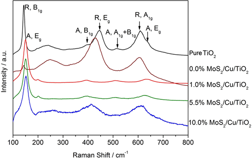Raman spectra of the pure TiO2 and x%MoS2/Cu/TiO2 samples (x = 0.0%, 1.0%, 5.5%, 10.0%).