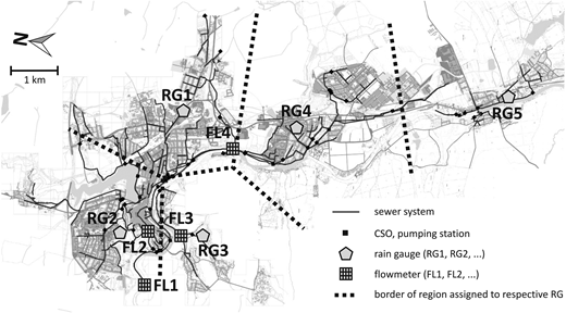 The Tabor agglomeration catchment with the municipal monitoring network (tipping bucket rain gauges and flowmeters). Thiessen polygons depicting the assignment of RGs to the rainfall-runoff model.