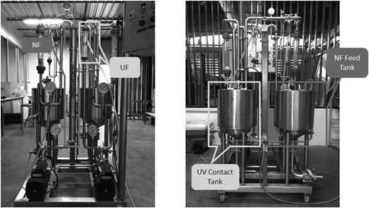The hybrid NF membrane and photocatalysis operation unit, showing the front of the unit (left) and the back of the unit (right).
