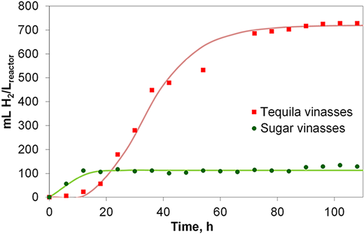 H2 production from tequila and sugar vinasses.