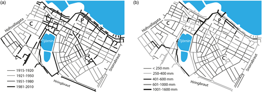The modelled combined sewer network located in downtown Reykjavik. (a) Pipe age. (b) Pipe diameter.