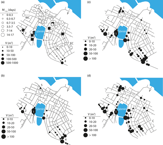 Locations of flooded manholes in MIKE URBAN scenarios. (a) ARS, (b) CDS, (c) CDS-R and (d) CDS-RD. Water-related property damage locations are indicated as squares.