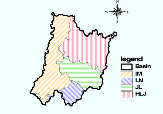 The districts of the Songliao River Basin (IM Autonomous Region; LN province; JL province; HLJ province).