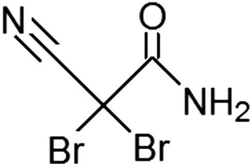 Chemical structure of DBNPA.