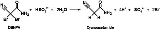 Reaction between DBNPA and bisulfite.