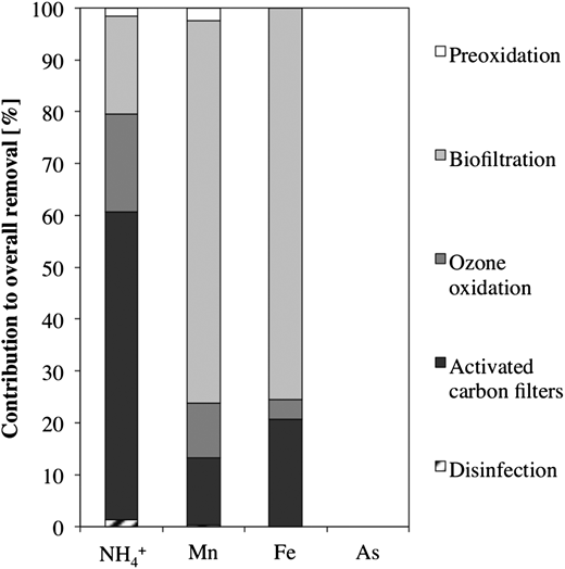 Contribution of each treatment to the overall removal of the main contaminants.