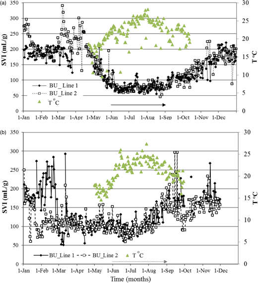Sludge volume index data of the biological unit and inlet wastewater temperature in years (a) 2011 and (b) 2012 (solid arrow showing the cut-off period in 2011 and dotted arrow in 2012).