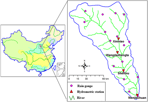 River system and location of rain gauges and hydrometric stations in the Kuye River catchment.