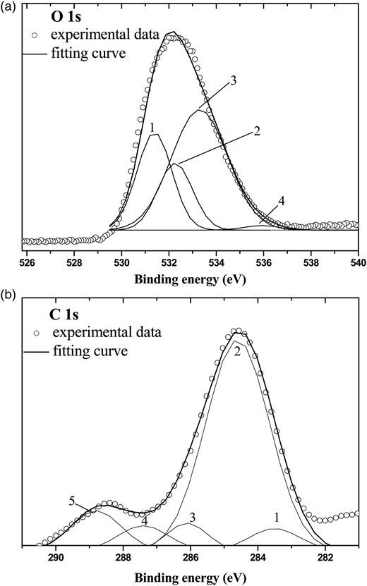 (a) XP O1s core level spectra of the AC-I materials: (1) C=O; (2) C–OH, C–O–C; (3) C–O–C=O; (4) chemisorbed water, (b) XP C1s core level spectra of the carbon materials: (1) carbidic; (2) graphitic; (3) C–OH, C–O–C; (4) C=O; (5) C–O–C=O.