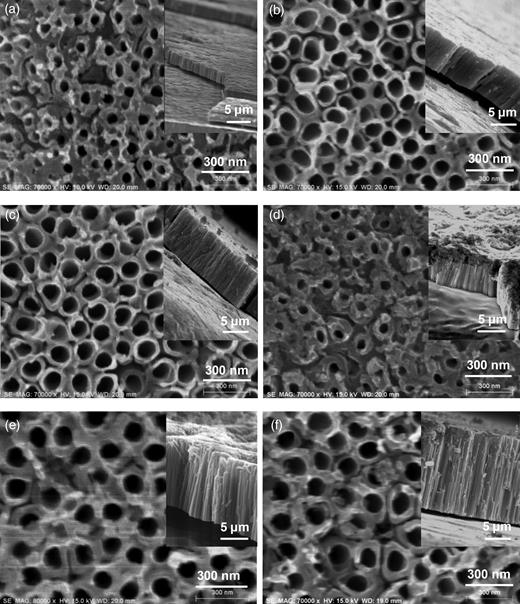Surface morphology of TNA samples anodized in ethylene glycol (0.5 wt% NaF, 5 wt% H2O) at 60 V for (a) 1 hour, (b) 3 hours and (c) 5 hours, and 80 V for (d) 1 hour, (e) 3 hours and (f) 5 hours.
