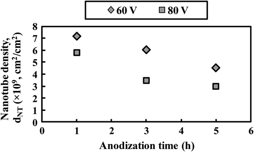 Influence of anodization time and applied potential on density of TNAs.