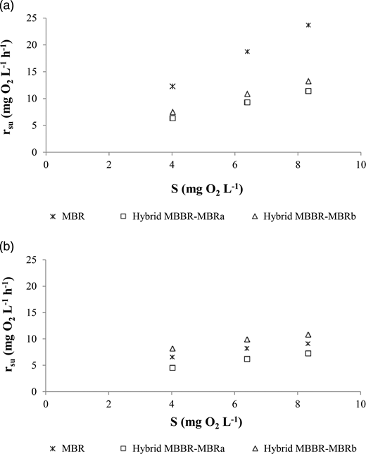 Substrate degradation rate (rsu) obtained in the heterotrophic kinetic study depending on the substrate concentration (S) for the different bioreactors from the laboratory-scale WWTPs. (a) Start-up phase. (b) Steady state.