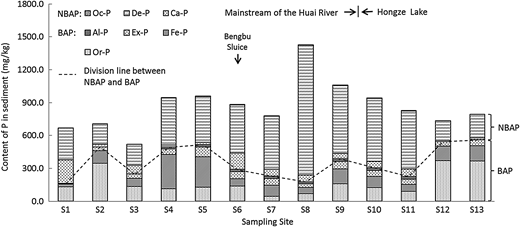 Variations of P fractions in the river–lake system of the Huai River catchment area.