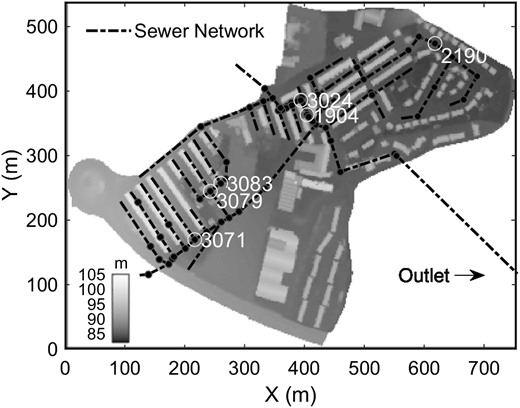 Top view of the digital elevation model (DEM), sewer network and selected Manholes ID for displaying the discharges and water levels (yellow circles). The case study is located in Keighley, Bradford, UK. Please refer to the online version of this paper to see this figure in colour: http://dx.doi.org/10.2166/wst.2016.171.