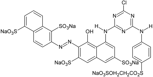 Molecular structure of the azo dye Reactive Red 241 (CAS 89157-03-9; C.I. 18220).