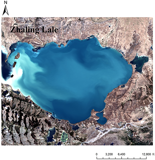 Zhaling Lake district topography and landforms.