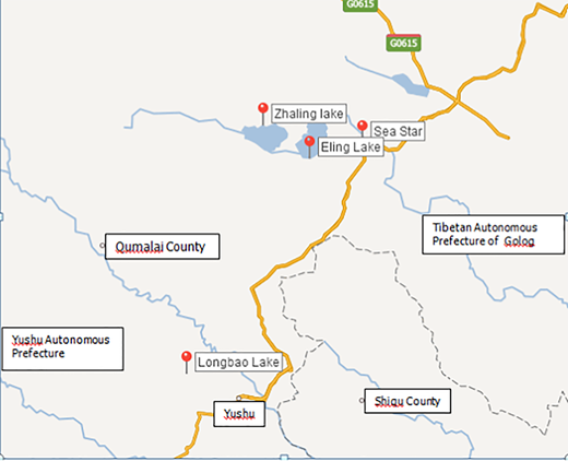 The district location of four lakes (Source: Baidu).