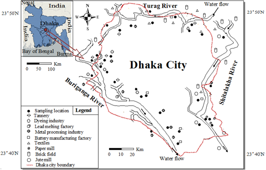 Map of the sludge sampling location of different industries in Dhaka City, Bangladesh.