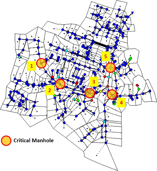 Locations of the critical manholes.