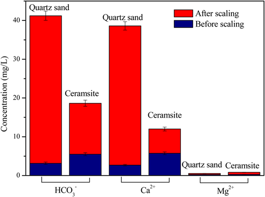Composition of the scale formed on ceramsite and quartz sand.