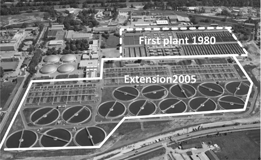 Extension of the VMWWTP; start of operation 2005; the 2nd stage consists of 15 lines with pre-denitrification tanks (mixed, rectangular), two simultaneous nitrification/denitrification tanks in series with circular flow and a circular secondary sedimentation tank D = 64 m.