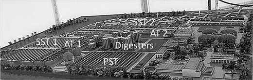 Layout of the new constructions of the EOS Project: PS, 1st AS plant, reject water nitritation, six sludge digesters (12,500 m3 each), gas motor station, two gas holders, mechanical thickening and power house (gas motors and generators).