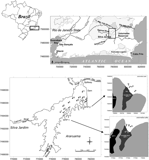 Location of the study area in the Rio de Janeiro state, Brazil. Sediment sampling points are indicated with numbers. WTPs (black) and the disposal areas (dark gray) are also indicated in the figure.