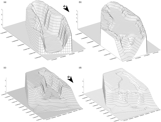 Block diagrams of the digital terrain model: (a) empty waste pile area for WTP 1; (b) filled waste pile for WTP 1; (c) empty waste pile area for WTP 2; (d) filled waste pile for WTP 2.