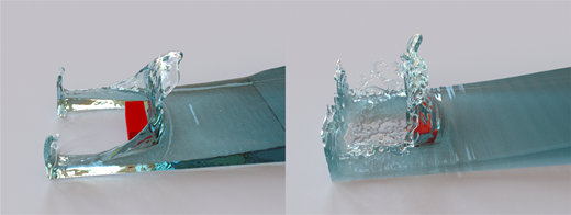 Visual comparison of SPH (left) and PIC/FLIP (right) flow simulations – the impact of water on a rigid object is rendered as a translucent fluid using Mitsuba renderer (Jakob 2010). While the flow dynamics are comparable, the detailed effect of the rigid obstacle is different. By visual comparison to the video and validation of the test case, the flow profile of the PIC/FLIP simulation is even more realistic (Kleefsman et al. 2005).