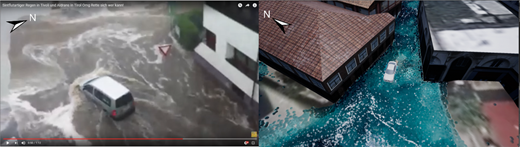Comparison of the actual footage (Life Radio Tirol 2016) and the simulation of an extreme rain event in a village near the city of Innsbruck. The perspective has been altered for better visualization of the scene. DTM for the simulation provided by (c) Land Tirol.