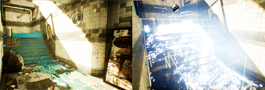 Subway scene showing the combination of detailed CG with real-time fluid simulation (left). The right image illustrates the numerical foundation of simulation, visualizing the individual particles. The cubes show the fluid domain that is calculated for every frame.