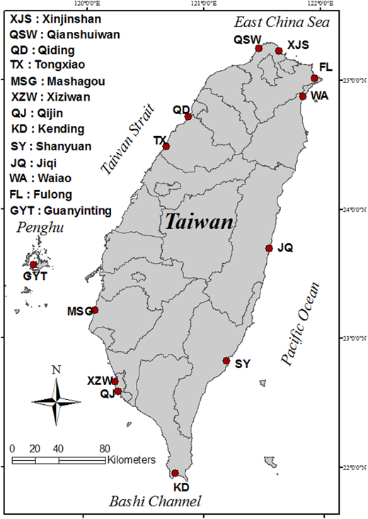 Map of the Taiwan and beach sites.