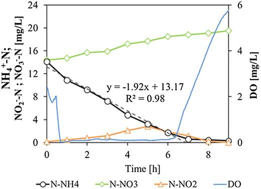 Track study of NH4+-N, NO3-N and NO2-N in the PSBR to evaluate nitrification kinetics during the light phase.