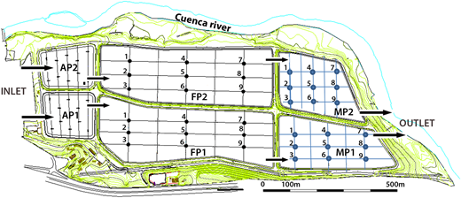 Map of Ucubamba waste stabilization pond in Cuenca, Ecuador. Two parallel lines of WSP contain aerated ponds, facultative ponds, and maturation ponds. Grids were formed within the last two ponds in order to ensure that the collected samples are representative of variations along the ponds.