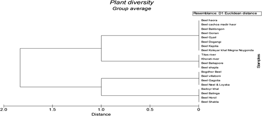 Dendrogram showing the percentage of distance among different wetlands of Brahmanbaria district, prepared on the basis of depth.